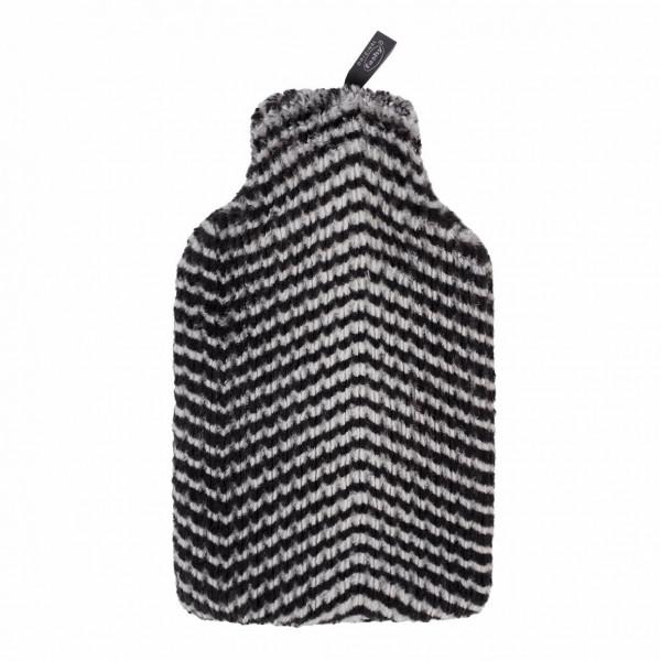 Wärmflasche mit Flauschbezug 2,0 L Schwarz/ Weiß