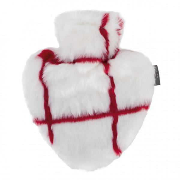 Herzwärmflasche mit Flauschbezug in rot/weiß