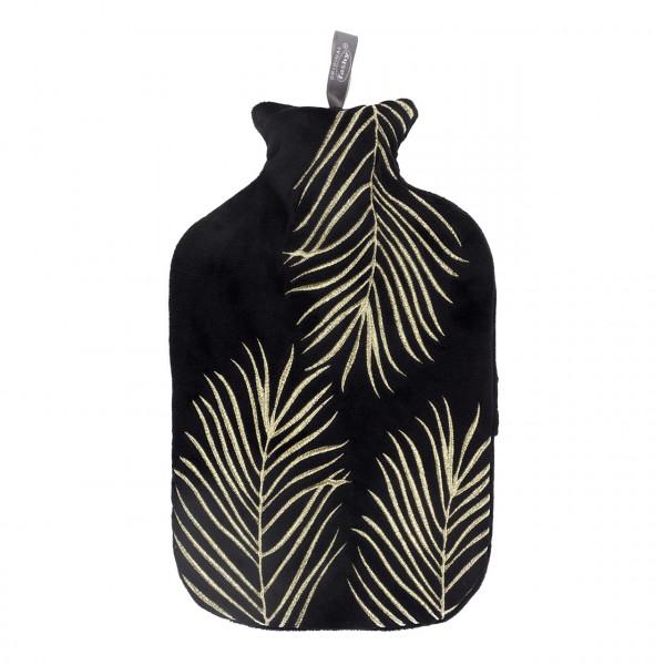 Wärmflasche mit Flauschbezug und Stickerei