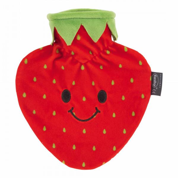"""Wärmflasche mit Bezug """" Erdbeere"""" 0,7 L"""