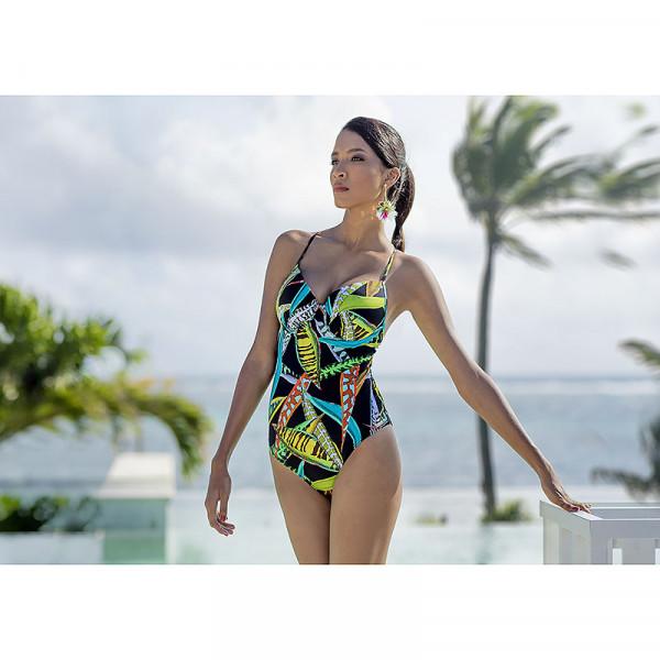Badeanzug Damen Mulit-Color Schwarz