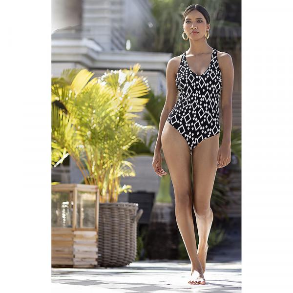 Badeanzug Damen Schwarz Weiß
