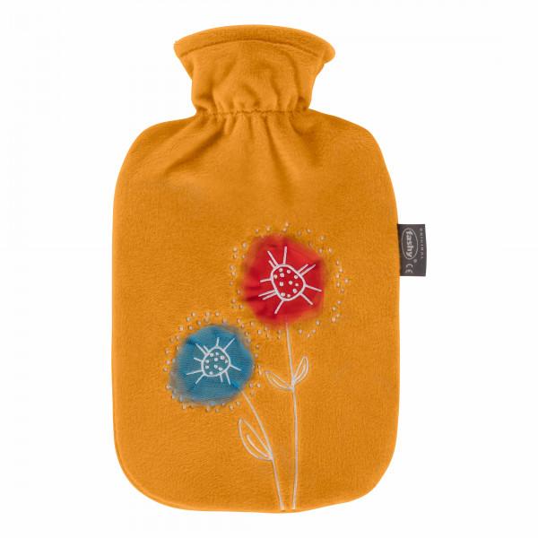 Wärmflasche mit Flauschbezug und Applikation