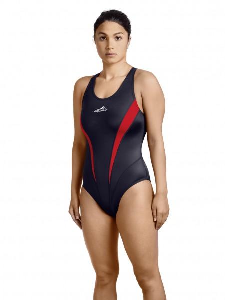 Schwimmanzug Damen sportlich schwarz/rot
