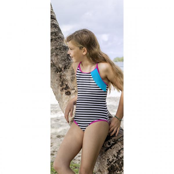 Badeanzug Mädchen schwarz weiß