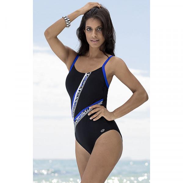 Badeanzug Damen Streifen Schwarz