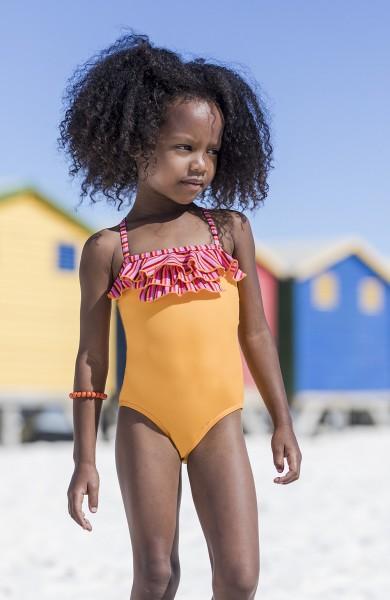 Badeanzug Mädchen gelb Rüschen