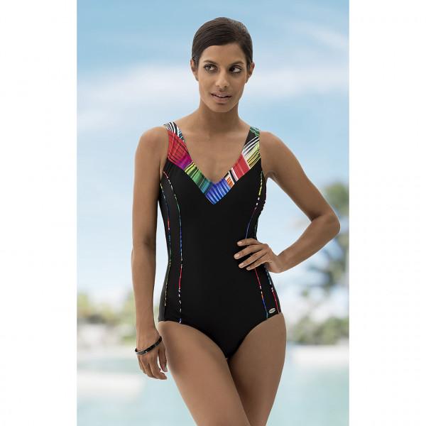 Badeanzug schwarz klassisch multi-color