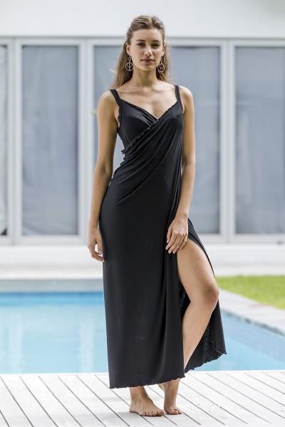 Wickelkleid Damen schwarz lang