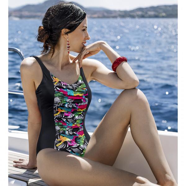 Badeanzug Damen Schalen schwarz bunt