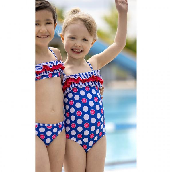 Badeanzug Mädchen Tupfen blau