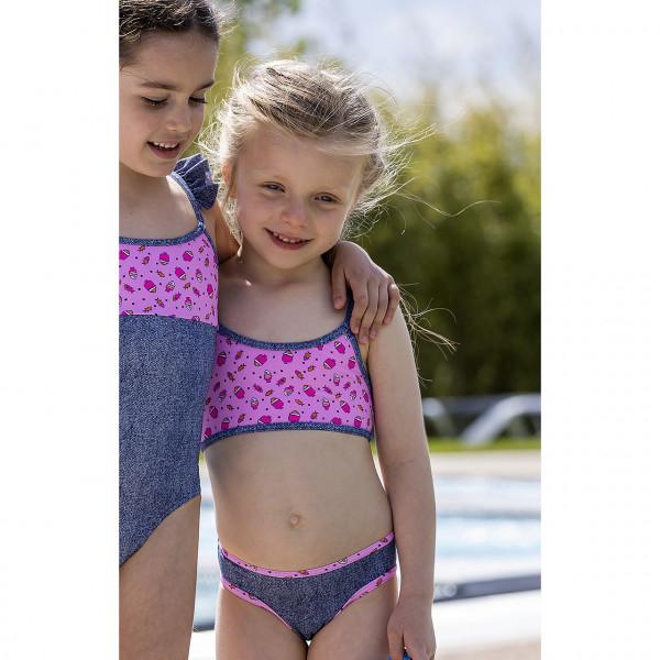 Bikini Mädchen blau rosa Muster