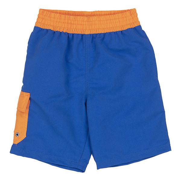 Badeshorts Jungen blau Außentasche